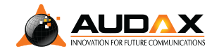 Audax Communications. Innovation for Future Communication. Logo